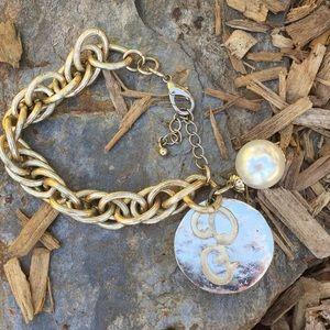 VTG Initial P Geisha Girl Pearl Bracelet